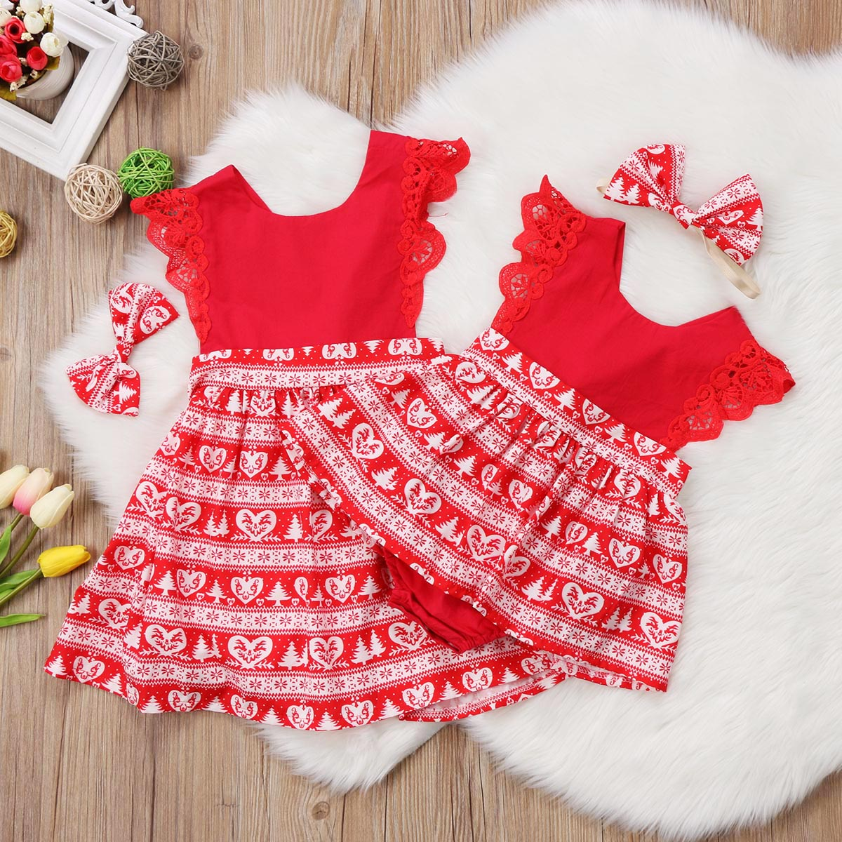Christmas Baby Girls Romper Dresses Kids Red Yellow Xmas Lace Ruffled Romper Dress Party Dresses Headband Outfits Clothes 0-6Y fashion newborn baby girls christmas ruffle red lace romper dress sister princess kids xmas party dresses cotton costume romper