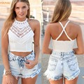 Blanco Mujeres Crochet Blusas Sexy Backless Hollow out Summer Beach Bikini superior para Las Mujeres Sujetador Bustier Crop Top Tank S M L XL 34