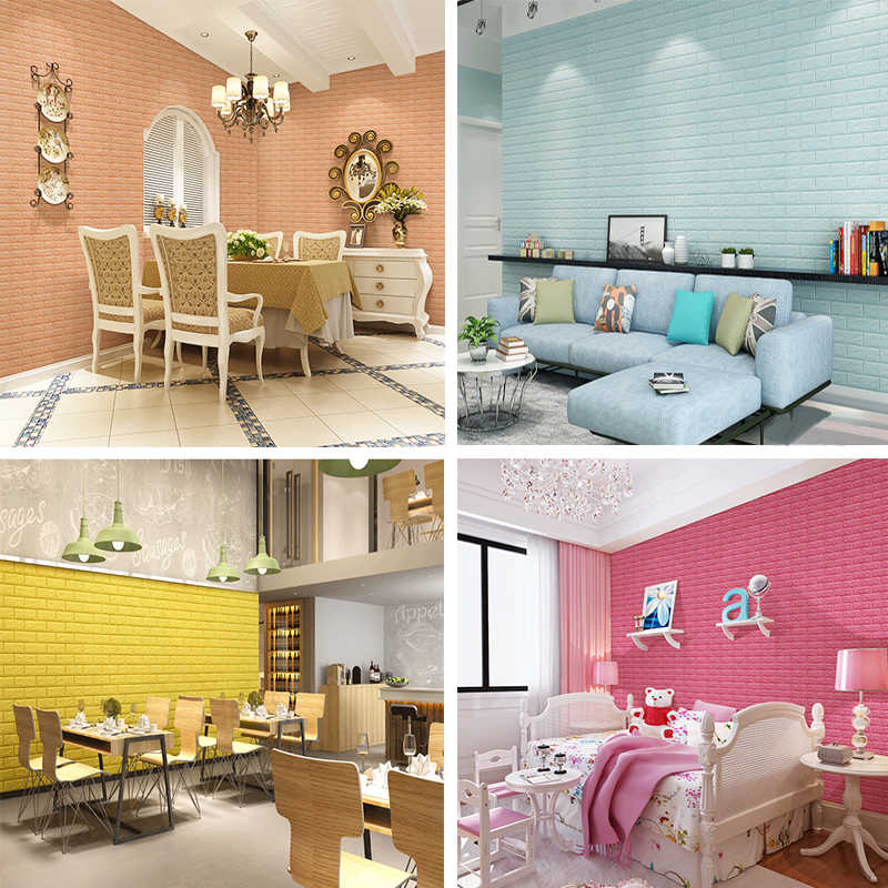 Diy Self-sticking Waterproof wallpaper 3D Wall Sticker Home Wall Decor Living Room Kitchen For Tv Background Kids Room wallpaper