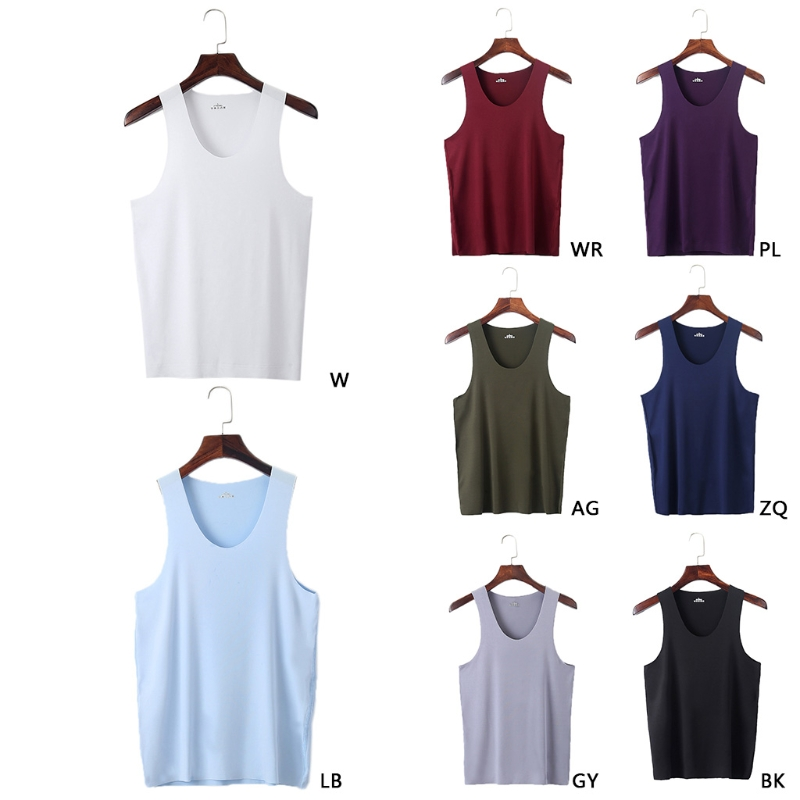 Fashion New Men's Elasticity Ice Silk Seamless Vest Undershirt Breathable   Tank     Tops   Casual 8 Colors High Quality