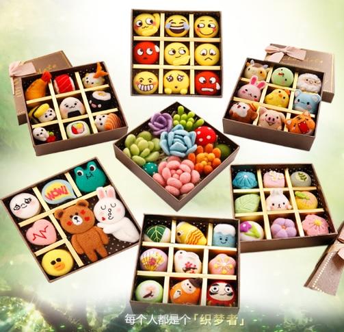 Lovely holiday gift animal set wool needlepoint kit wool felt needle felting gift box craft needlecraft DIY handmade