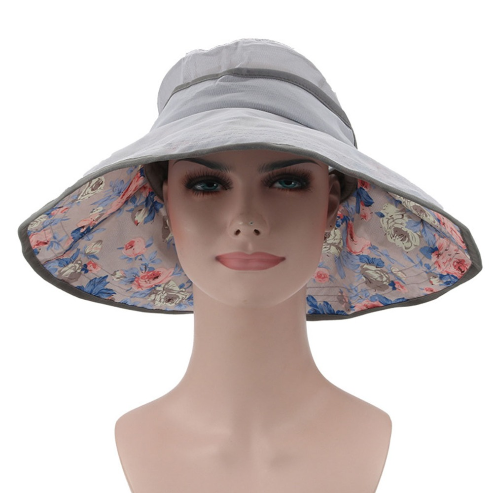 Surblue Women's Summer Solid Beauty Colored Cotton Bucket Hat with Big wide brim Fold-up Sun Protection neck Beach Bonnies hat