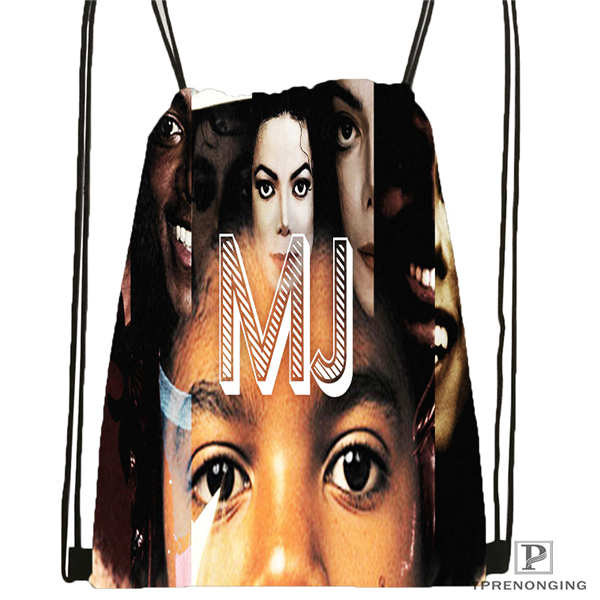 Custom Michael Jackson Drawstring Backpack Bag Cute Daypack Kids Satchel (Black Back) 31x40cm#180612-02-28