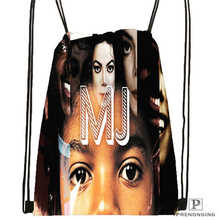 Custom Michael Jackson Drawstring Backpack Bag Cute Daypack Kids Satchel (Black Back) 31x40cm#180612-02-28(China)
