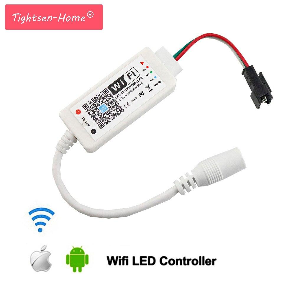 WiFi mágica LED controlador de música Smart Android iOS APP para WS2801 WS2811 LDP6803 SK6812 WS2812B IC 2048 tira de Led de luz 12 V 24 V