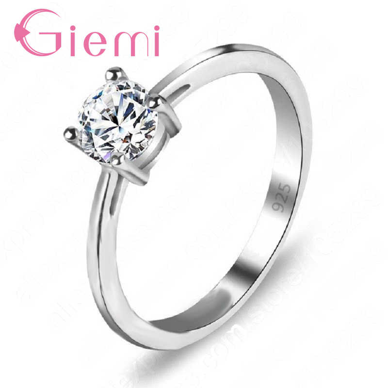 Big Sale Simple Design 925 Sterling Silver Women Rings Classic Wedding Engagement Accessories with Clear Cubic Zircon Stone