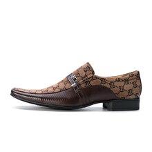 Mens de Cuero de Imitación 2017 Del Resorte Nuevos Zapatos de Moda Italiana Vintage Mans Negro/Marrón/Gris Elegante Del Partido Formal de la Boda Zapatos de trabajo