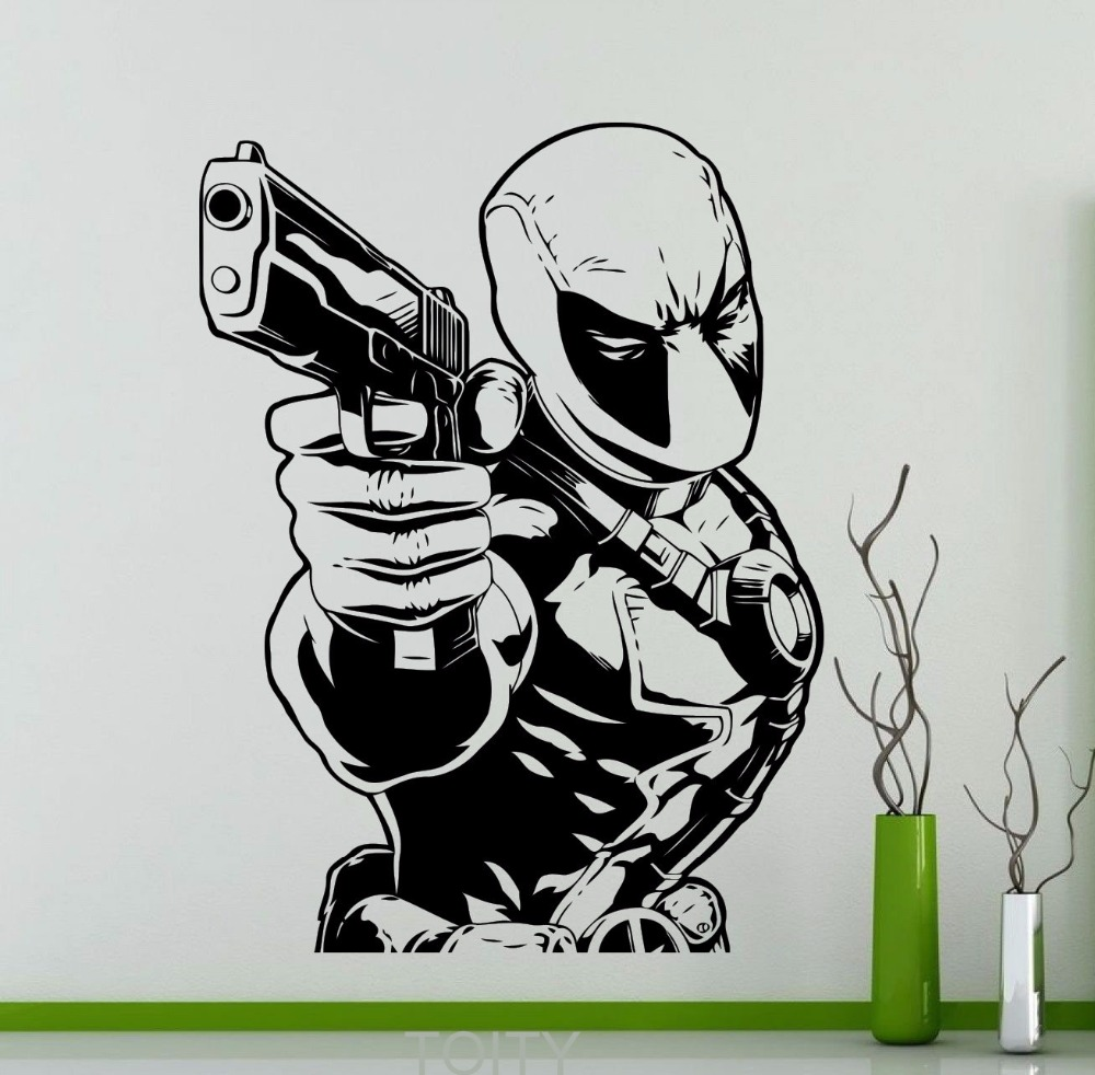 Deadpool Vinyl Decal Comics Super Hero Poster Wall Sticker - Superhero vinyl wall decals