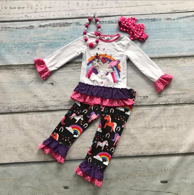spring boutique cotton clothing suit kids wear unicorn print striped rainbow ruffles outfits baby girls matching accessories
