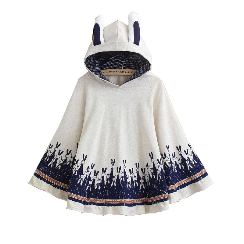 Merry Pretty Cloak outerwear women autumn rabbit print ear stereo hoodies coat cotton casual poncho jacket