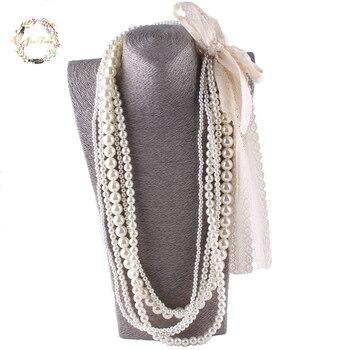 JIOFREE большой кружевной бисер имитация жемчуга ожерелье многослойное ожерелье заявление ожерелье популярные женские вечерние богемные укр...