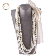 JIOFREE big lace Beads Simulated Pearl Necklace multi layer necklace Statement Necklace popular women Bohemian party jewelry