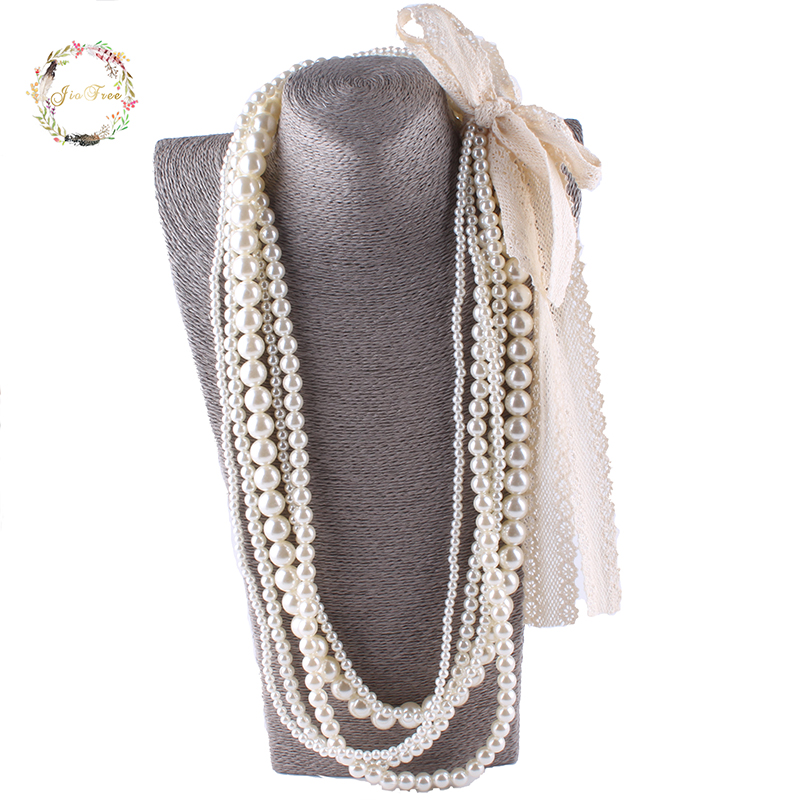 JIOFREE big lace Beads Simulated Pearl Necklace multi layer necklace Statement Necklace popular women Bohemian party jewelry recoil starter assembly for zenoah gw26i g260 26cc rc boat g290 g300 g320 pu pum puh pull starter assy komatsu part