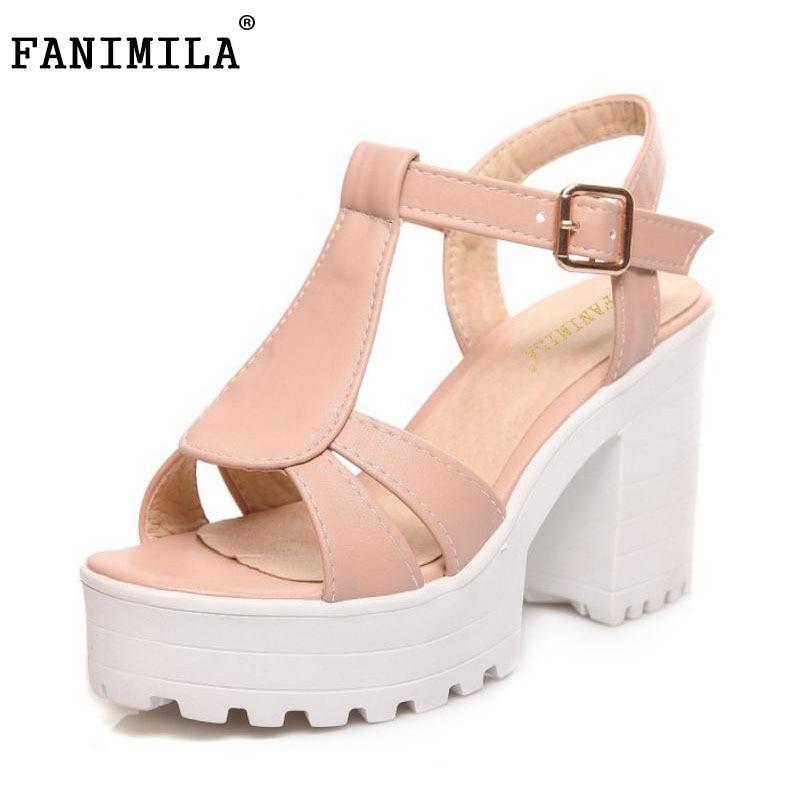 FANIMILA women gladiator sandals vintage design ankle straps open toe shoes thick high heels platform sandals size 34-46 PE00031
