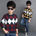 Toddler Boys New Korean Winter Style O-neck Cotton Pullover Wholesale Thickening Keep Warm Long Sleeve Fashion Kniitted Sweaters