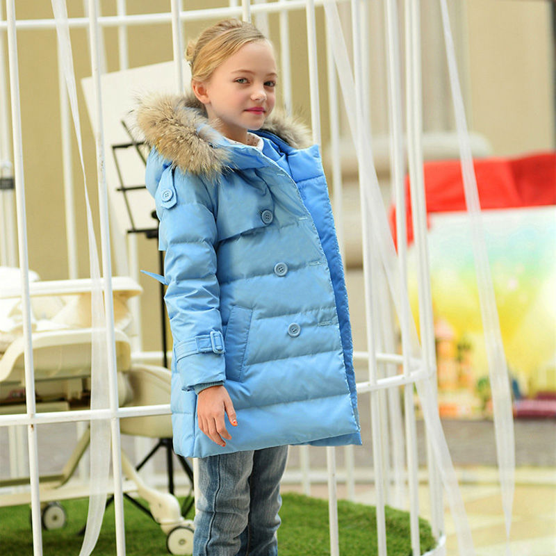 ФОТО Fashion Girls Winter Long Slim Jacket Children White Duck Down Snowsuit Kids Thickening Warm Coats with Hooded Fur Collar 3-14T