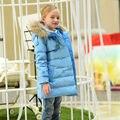 Las Chicas de moda de Invierno Delgada Larga de La Chaqueta Niños Pato Blanco Abajo Niños Snowsuit Engrosamiento Cálidos Abrigos con Cuello de Piel Con Capucha 3-14 T