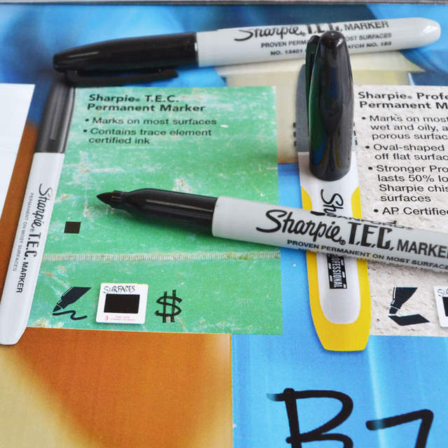 US $3 5 |sharpie TEC permanent marker 13401 fine point trace element  certified mark on metals such as stainless steel and titanium -in Marker  Pens