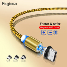 1M LED Magnetic Cable & Micro USB Type C Braided USB-C Magnet Charger for iPhone XR X Xs Max 7 8 Samsung