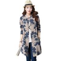 New Fashion Autumn Style Cotton Linen Women Blouses Long Sleeve Vintage Print Casual Blusas Femininas Shirt
