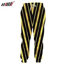 UJWI 2018 New Fashion Stripes Mens Pants 3D Big Size 6XL Printed Black Yellow Trousers Man Casual Sweatpants 5XL