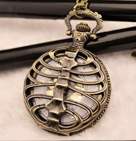 (1023G) 12pcs/lot Vintage Steampunk Punk Backbone Pocket Watch Necklace, Free sh