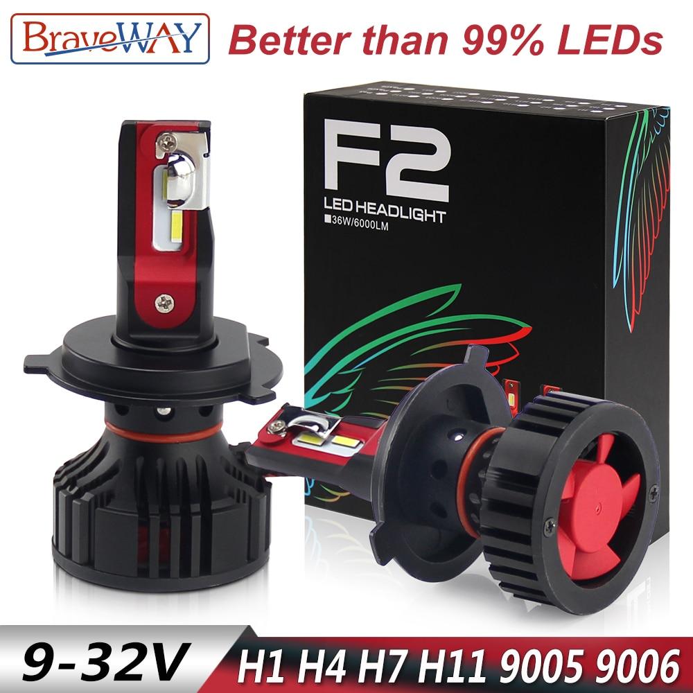 BraveWay H4 LED Headlight Car H1 H7 H8 H11 9005 HB3 9006 HB4 Turbo Led Bulbs