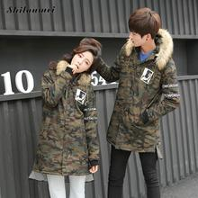 Men's Parkas With Hat Army Green Camouflage Winter Jacket For Men Single Breasted Loose Male Coat Printed Thicken Warm Outwear