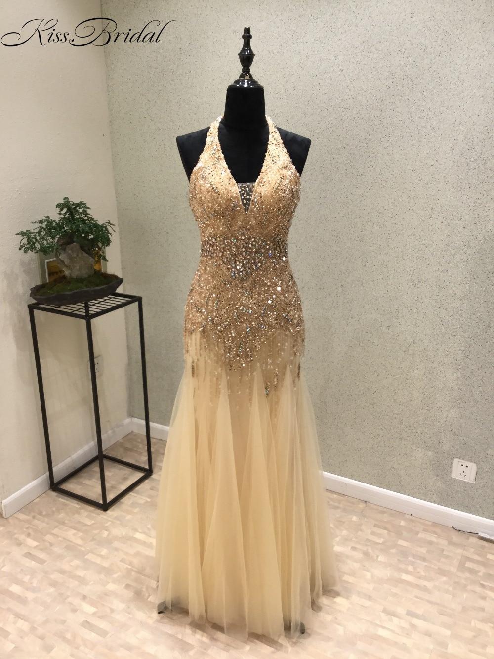 vestido longo de festa New Arrival 2018 Halter Neck Sleeveless Floor Length Beaded Tulle Mermaid   Prom     Dresses   2017 Evening   Dress