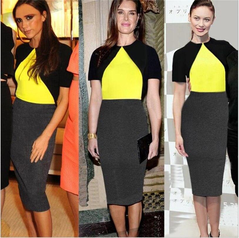 2016 Fashion Color Block Victoria Beckham Dress Short Sleeve Bodycon ...