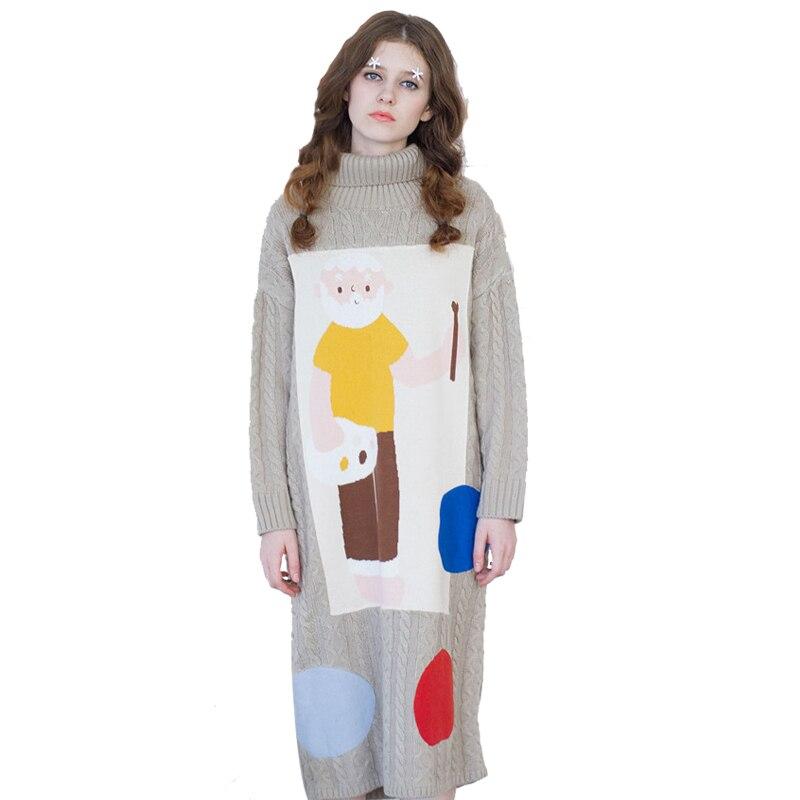 W stylu Vintage kobiety sukienka z dzianiny z golfem z długim rękawem śliczne aplikacje beżowy wysokiej jakości długie swetry zagęścić zima wiosna sukienka w Suknie od Odzież damska na  Grupa 1