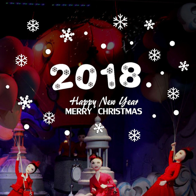 2018 Happy New Year Merry Christmas PVC Wall Sticker Home Shop ...