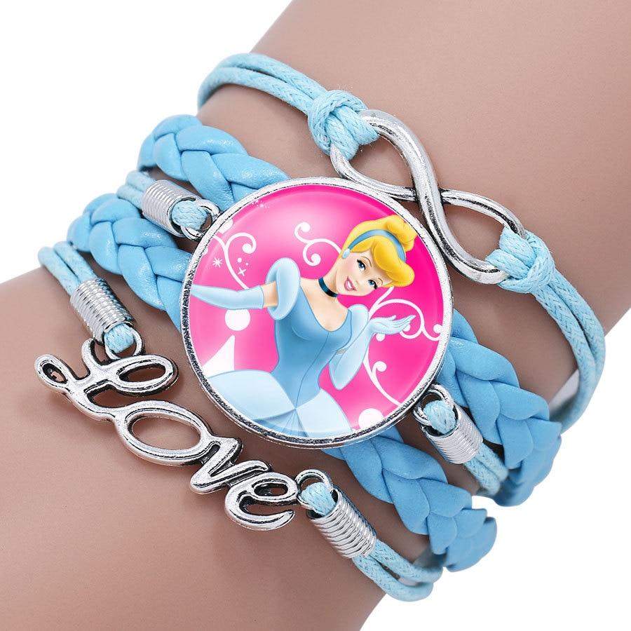 Детский Браслет Принцессы Диснея с героями мультфильма «Холодное сердце», Эльза, прекрасный подарок для девочек, аксессуары для одежды, детский браслет, украшения для макияжа - Цвет: 1