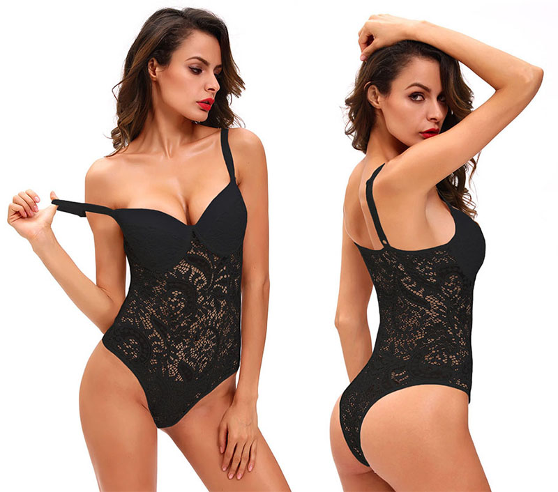 HTB10LRQXtzvK1RkSnfoq6zMwVXa7 - SEBOWEL Sexy Female Lace Black Padded Bodysuit with Cups Woman Spaghetti Straps Hollow Out Floral Body Top Clothes Ladies Bodice