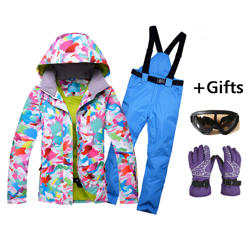 New High Quality Women Skiing Jackets And Pants Snowboard sets Thick Warm Waterproof Windproof Winter female Ski suit top quality womens skiing suit sets windproof waterproof thermal snowboard jackets and pants girl winter cotton snow dress