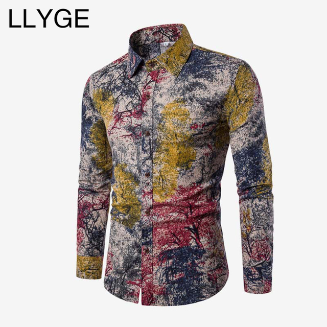 8eb3d374859a LLYGE Men's Floral Printed Long Sleeve Shirt Spring Cotton Linen Ethnic Mens  Blouse 2019 Casual Buttons Men Shirts Plus Size 5XL
