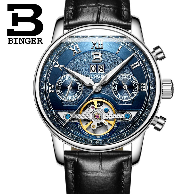 BINGER new men leather watch wrist original luxury top brand big automatic fashion sports Mechanical watches relogio masculino