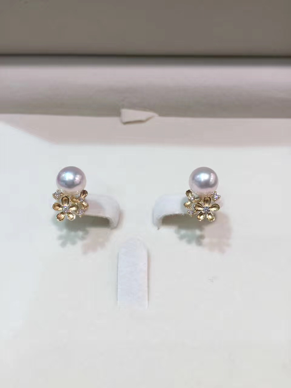 7-8MM  natural sea water pearl ring 18K gold with diamond flower stud earring akoya pearl fine jewelry  cute romantic