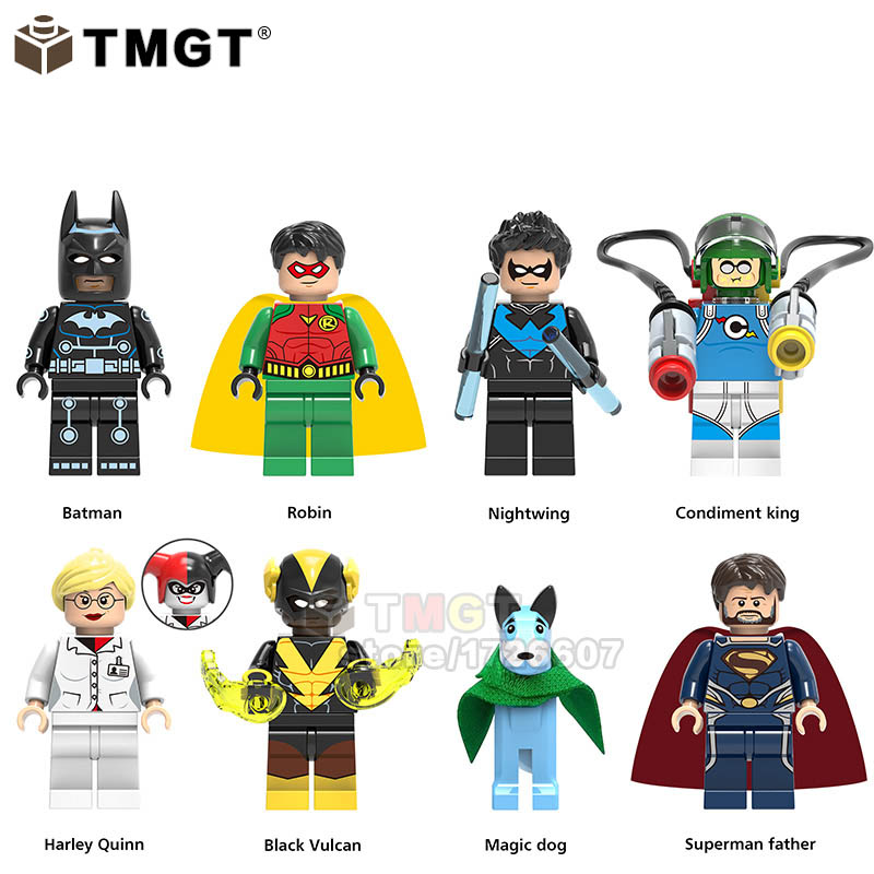 Toys & Hobbies Tmgt 20pcs/lot Super Heroes Robin Nightwing Batman Condiment King Harley Quinn Building Blocks Toys Gifts Model For Children
