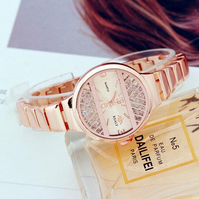 393cce4aa134 Vestido de acero inoxidable mujeres reloj de cuarzo relojes de lujo moda  mujer relojes señora reloj