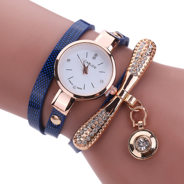 Luxury Women Ladies Watches Leather Band Rhinestone Analog Quartz Wristwatches V