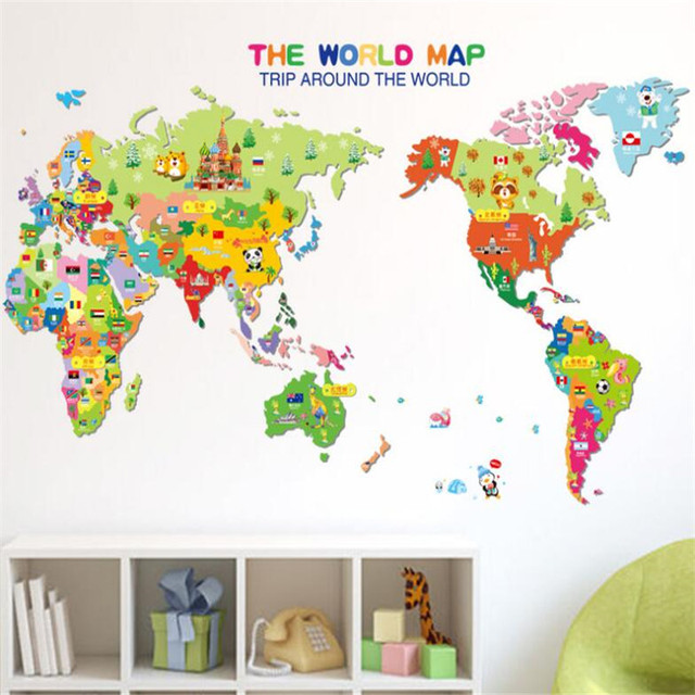 IDFIAF Popular Wall Stickers Wholesale World Map Stickers Cute Newest  Cartoon Animals World Map Home Decal