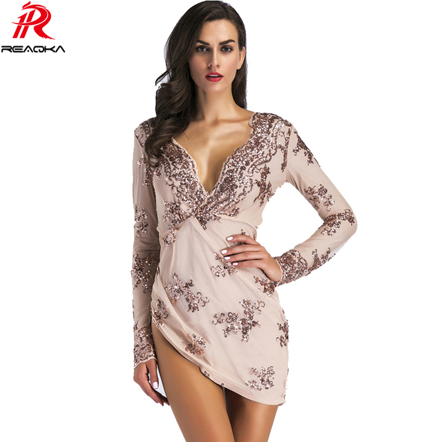 2018 Sexy Women Summer Asymmetric Gold Backless Sequins Dress Fashion Long  Sleeves V-Neck Luxury 1980604200bf