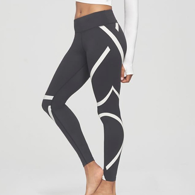 26eb2f2e59676 2017 summer plus size women's streamlined white stripes printing yoga  sports Leggings Activewear gear Gym Pants fitness wear