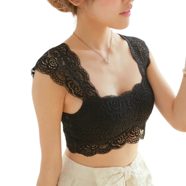 HOT 2017 New Women Sexy Lace Bralette Bra Bustier Crop Top Black Cropped Blusas Vest Halter Tank Tops Camisole haut femme