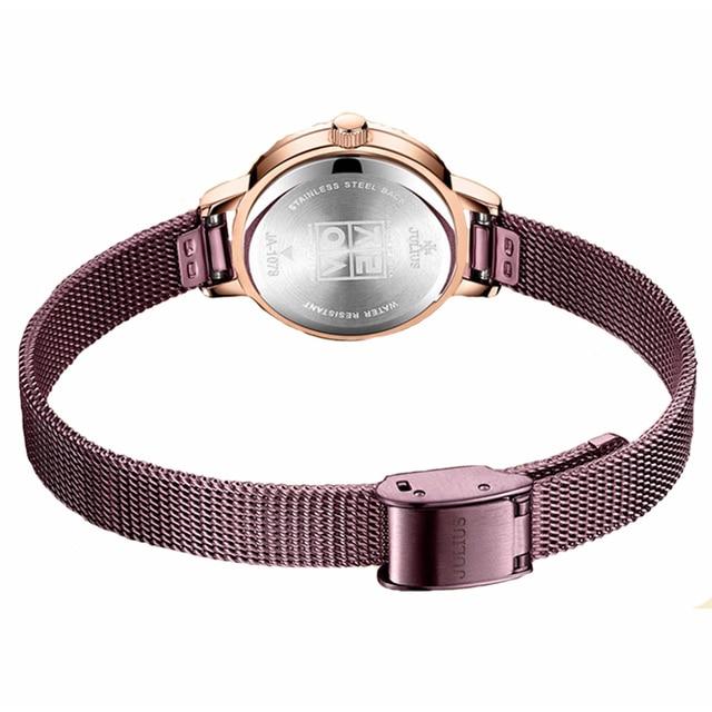 Julius Women Stainless Steel Mesh Bracelet Watches Creative Gear Dial Ladies Quartz Wrist watch Female Clock Relogio Feminino