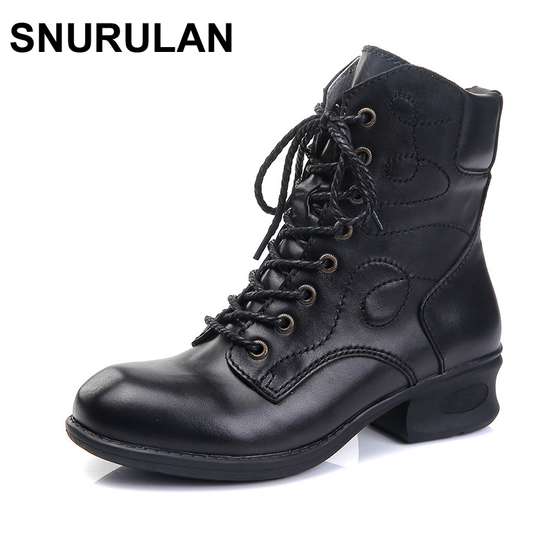 SNURULAN 2017 Autumn Shoes Women Ankle Boots Genuine Leather med heel boots Cowhide Woman Boots Motorcycle Boots Fashion black elastic band women genuine leather ankle boots chelsea hand made shoes motorcycle coincise fashion black matte women s boots