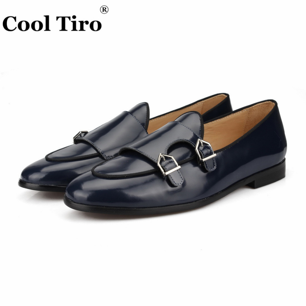 POLISHED LEATHER DOUBLE-MONK LOAFERS Dark blue (3)