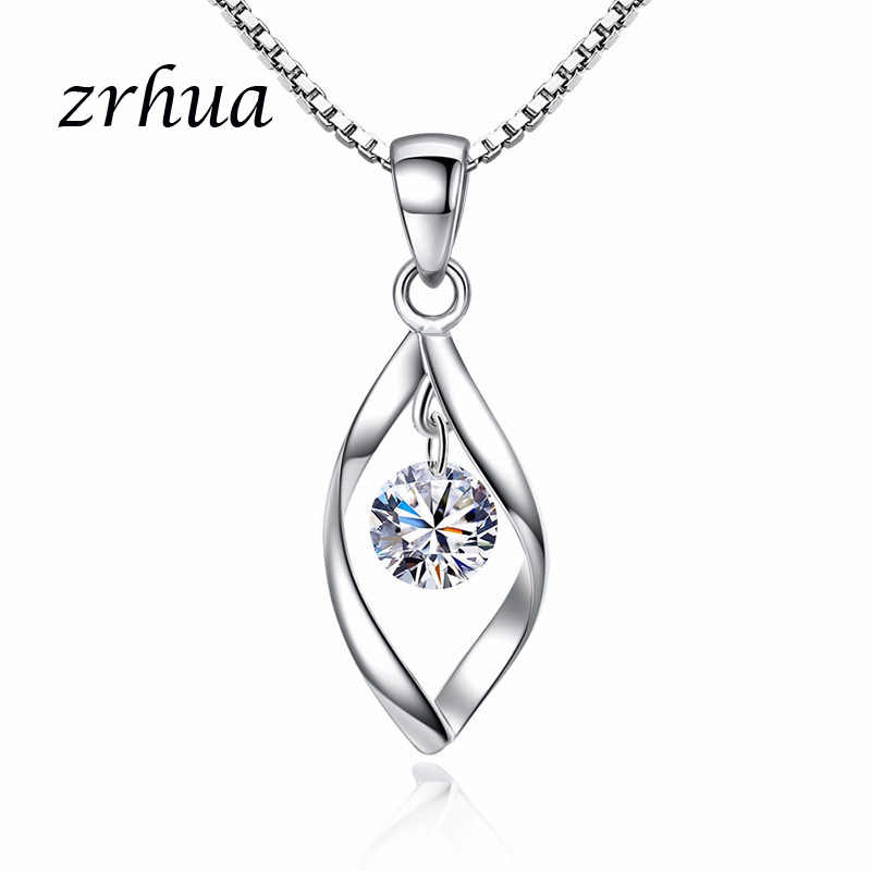 ZRHUA Luxury Romantic Water Drop Pendant Necklace 925 Sterling Sliver Wemon Engagement Wedding Accessaries Nice Gift For Lover