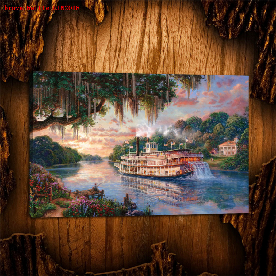 Thomas kinkade the river queen canvas painting print - Home interiors thomas kinkade prints ...